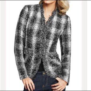 Carol Anderson Invitation fringe tweed blazer Sz 8